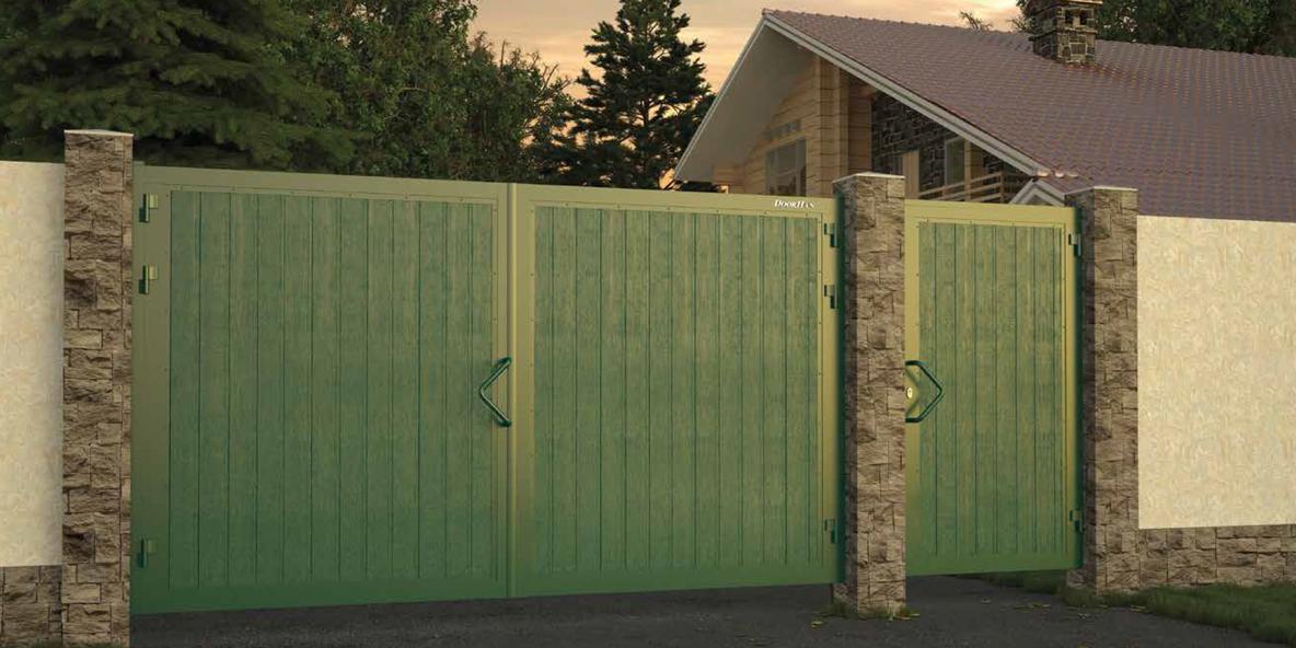 Уличные распашные ворота DoorHan из сэндвич-панелей в Саратове - купить Уличные распашные ворота DoorHan из сэндвич-панелей в Саратове прайс-лист цена 2019